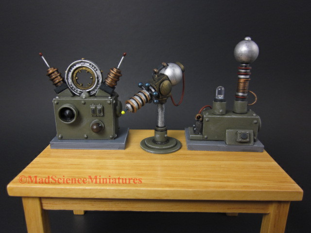Mad scientist lab equipment bench set up 1:12 scale dollhouse miniature.